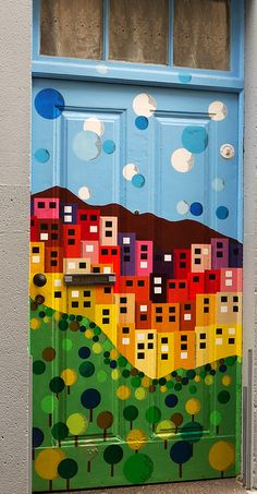 Painted door. Madeira, Portugal. - Would look great on the front of a dresser as well.  Love this!