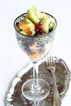 vegan melon mint kiwi salad, a perfect dessert that can be made in a grown up version as well.