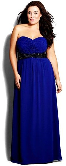 Plus Size Bejeweled Strapless Gown