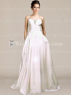 Simple Taffeta Ball Gown Wedding Dress with Spaghetti Straps BC030N