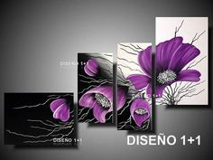 5 Panels Diamond Painting - Violette - Her Crochet Lily Painting, Oil Painting On Canvas, Acrylic Painting Tutorials, Acrylic Art, 3 Piece Canvas Art, Red Wall Art, Purple Art, Painting Lessons, Flower Art
