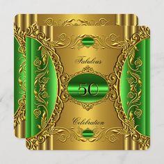 Elegant Green Lime Gold Fabulous 50th Birthday Invitation | Zazzle.com 50th Birthday Party For Women, 50th Birthday Decorations, Elegant Birthday Party, 50th Birthday Invitations, Birthday Party Centerpieces, 50th Birthday Cards, Gold Birthday Party, Fabulous Birthday, 60th Birthday Party