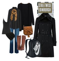 """Black layers & brown accents to keep warm"" by dudundlovu on Polyvore featuring Uniqlo, Roffe Accessories, Naturalizer, M&S Collection, NIKE, Chloé, Whistles and Leith"