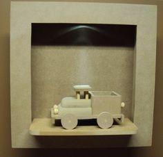 Quadro com led meio de transporte caminhão decoração quarto bebe Luartes Decoração.Nicho bebe,quadro nicho, nicho