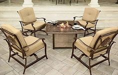 Cozying up around the fire with good food and good friends. It's tradition. Continue it stylishly with our Traditions Collection: 4 cushioned rocking chairs and a gas-powered fire pit with an intricately designed cast-aluminum tabletop. Online only. #shopko