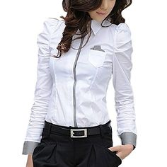 ELINKMALL Women Office Lady Formal Button Down Shirt Puff Sleeve Tops Blouse ** Be sure to check out this awesome product.Note:It is affiliate link to Amazon.