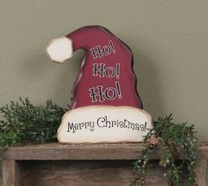 Primitive Christmas STANDING SANTA HAT Rustic Country Holiday winter home decor on eBay!