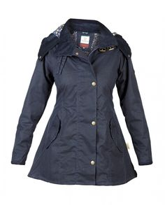 Louise Navy Wax Coat with detachable hood | by Welligogs – **They'll have a booth at the Chatsworth Country Fair