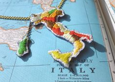Map of Italy Hand Embroidered Necklace  Long by ilgattoselvatico, $58.00