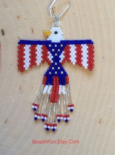Seed Beaded Earrings Name: Patriotic Eagles Eagle Earrings Seed Bead Crafts, Seed Bead Jewelry, Seed Bead Earrings, Beaded Earrings, Fringe Earrings, Tribal Earrings, Bead Jewellery, Beaded Necklaces, Seed Beads