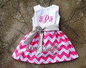 Monogrammed Baby Dress Pink and White Chevron with Silver Satin Sash Custom Boutique. $45.00, via Etsy.