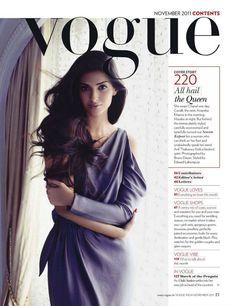 Sonam Kapoor Vogue India November 2011 - Clothing, Makeup & Beauty Tips