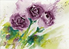 Watercolors, Watercolor Paintings, Purple Roses, Rose Bouquet, Charity, Giclee Print, The Originals, Garden, Handmade Gifts