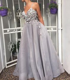Saudi Arabia Evening Dress 2017 Lace Appliques Hand Made Flowers Ball Gown Puffy Organza Off the Shoulder Formal Dresses Long Evening Party Gowns · lass · Online Store Powered by Storenvy Grey Prom Dress, Tulle Prom Dress, Homecoming Dresses, Lace Dress, Party Dress, Bridesmaid Dresses, Evening Party Gowns, Lace Evening Dresses, Prom Outfits