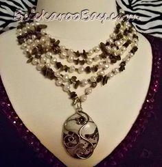 Leopard Jasper pendant on a necklace of freshwater pearls, tiger eye chips, glass seedbeads. Strand Necklace, Necklace Set, Pendant Necklace, Cowgirl Jewelry, Chainmaille, Jasper, Handmade Jewelry, Pendants, Pearls