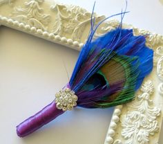 Mother of the Bride Mother of the Groom Corsage Wedding Pin Brooch Blue Purple Feather Peacock Rhinestone Jewel by parfaitplumes on Etsy https://www.etsy.com/listing/247062170/mother-of-the-bride-mother-of-the-groom
