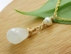 Moonstone and Freshwater pearl Gold Necklace White by Fifilabonge, $41.00
