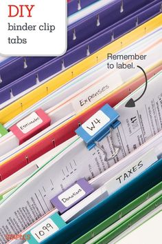 Binder clips aren't just great for taming messy paperwork. You can also turn them into filing tabs. Attach them to the folders between your hanging files to find documents in a snap. Organisation Hacks, School Office Organization, Organizing Paperwork, Home Office Organization, Storage Organization, Organising, Office Decor, Organize Office Supplies, Organizing Paper Clutter