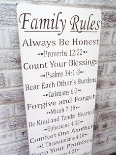 "Scripture FAMILY RULES typography sign ""Always be honest, count your blessings, forgive and forget..."" w/bible verse"