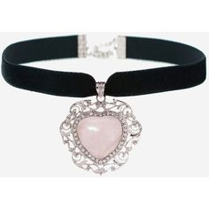 AURORA Rose Quartz Heart Velvet Choker (485 EGP) ❤ liked on Polyvore featuring jewelry, necklaces, rose quartz necklace, pink jewelry, heart choker, velvet jewelry and rose quartz jewelry