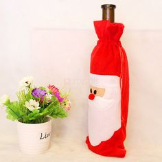 Santa Claus Christmas Red Wine Bottle Cover Bag