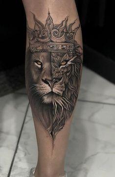 Lion Leg Tattoo, Calf Tattoo Men, Lion Forearm Tattoos, Lion Tattoo Sleeves, Lion Head Tattoos, Mens Lion Tattoo, Leo Tattoos, Tribal Tattoos, Hand Tattoos