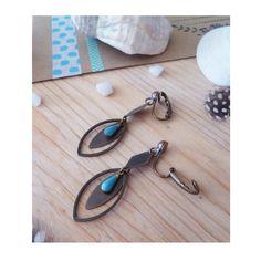 ▲ NOKIE ▲ Clips fantaisies, goutte bleu azur & anneau bronze ! : Boucles d'oreille par elora