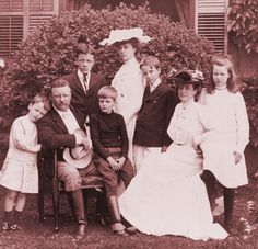 """Theodore """"Teddy"""" Roosevelt (1858-1919),  was the 26th President of the United States (1901-1909) is shown with First Lady Edith Roosevelt (1861-1948) and their children."""