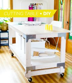 & Cutting Table DIY for Your Craft or Sewing Studio Closet Case Files // DIY cutting table tutorial (the right height for sewers!)Closet Case Files // DIY cutting table tutorial (the right height for sewers! Sewing Room Design, Craft Room Design, Sewing Spaces, My Sewing Room, Sewing Studio, Sewing Rooms, Attic Design, Craft Space, Sewing Room Organization