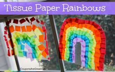 Craft Idea: How to Make issue Paper Rainbow Window Clings using contact paper.  Fun for St. Patrick's Day or a spring craft!