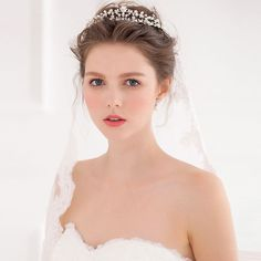 womens tiara on sale at reasonable prices, buy Jonnafe Rhinestone Branches Flower Tiaras And Crowns Wedding Headpiece Bridal Hair Jewelry Accessories Women Tiara Hairwear from mobile site on Aliexpress Now! Headpiece Wedding, Bridal Headpieces, Pearl Headpiece, Headband Hairstyles, Wedding Hairstyles, Wedding Tiaras, Bridal Crown, Tiaras And Crowns, Wedding Hair Accessories