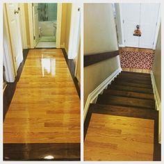 Custom border for this dark walnut staircase