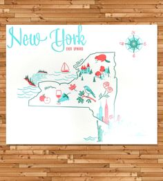 Vintage-Inspired New York Map Print | This vintage-inspired map series is inspired by vintage tea to... | Posters