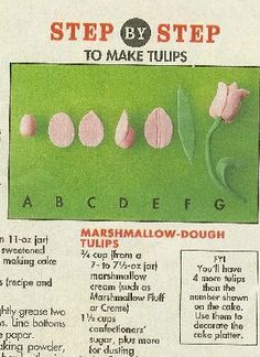 fondant tulips :-) Fondant Flower Tutorial, Fondant Flowers, Cake Tutorial, Sugar Flowers, Fondant Toppers, Fondant Cupcakes, Cupcake Cakes, Cake Decorating Techniques, Cake Decorating Tutorials