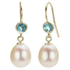 DaVonna 14k Gold White Pearl and Blue Topaz Drop Earrings