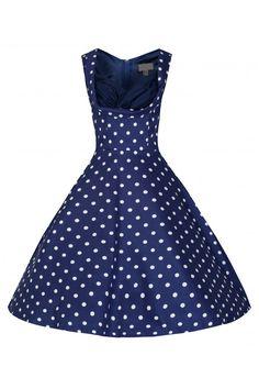 38 vintage navy πουά casual φόρεμα 50s