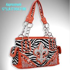 Orange Zebra Rhinestone FDL Cross Purse