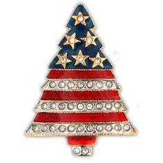 Rhinestone Patriotic Christmas Tree Pin