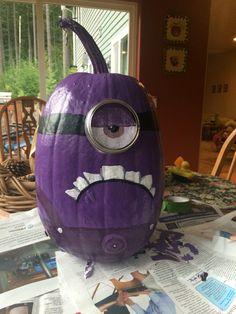 #minion #pumpkin Purple Mutant Minion Pumpkin! by: Ashley Wiedman