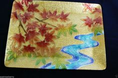 VTG Ando Japan Cloisonne Enamel on Metal Fall Autumn Dish Plate platter tray Fall Dishes, Party Items, Autumn Leaves, Enamel, Japanese, Plates, Display, Metal, Artist