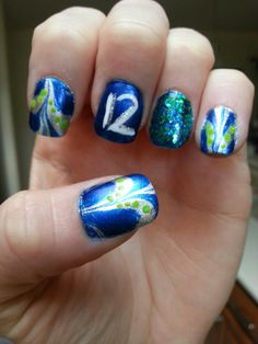 My nails for the 11-17-13 Seahawks game! GO HAWKS!!! Win