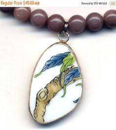 SALE 15% off Leaves Porcelain Pendant Necklace Purple by Annaart72