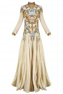 Gold Silk Thread and Zari Floral Embroidered Gown #samantchahuhan  #shopnow #ppus #happyshopping