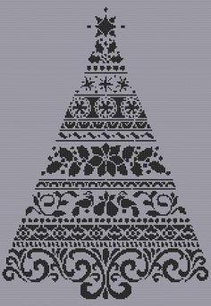 Monochrome Christmas tree cross stitch pdf chart pattern instant download