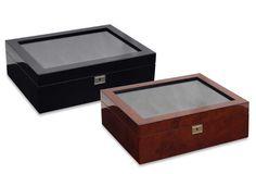 Savoy 10-Piece Watch Box Jewelry Display Case Organizer Storage Large Glass Top…