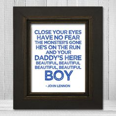 John Lennon Nursery Print 11x14 - Beatles Nursery Print - Beautiful Boy Lyrics Print - White Background Choose Text Color on Etsy, $23.00 @Kelly Teske Goldsworthy Whitesel Helgeson