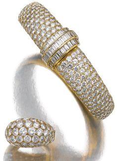 Diamond bracelet and ring, Van Cleef & Arpels.     Both of bombé design, the front set with brilliant-cut diamonds