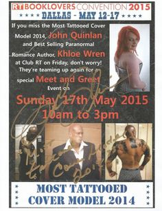 Most Tattooed Cover Model 2014 John Quinlan & Best Selling Paranormal Romance Author Khloe Wren Club RT Dallas, TX Meet and Greet on Sunday May 17, 2015 10am to 3pm Signed 8x10  #JohnQuinlan