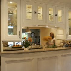 pass through -- Kitchen Remodel In Lake Oswego, Oregon - traditional - kitchen - portland - Nordby Design Studio, Architecture & Interiors LLC Pass Through Kitchen, Kitchen Pass, Kitchen Redo, Living Room Kitchen, Kitchen Cabinets, Glass Cabinets, Dining Room, Narrow Kitchen, Condo Kitchen