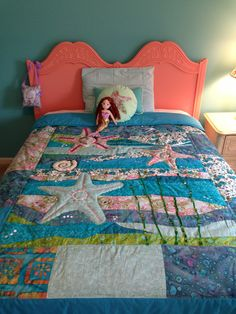 Mermaid room, handmade quilt.